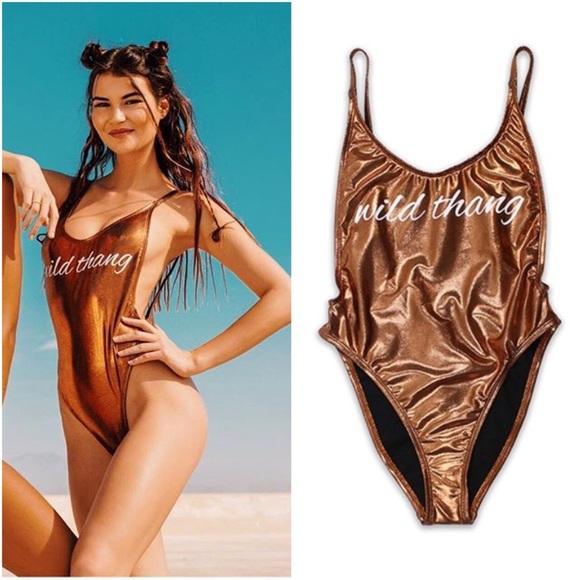 25335ef68ea Swim | Wild Thang Bronze Metallic 1pc High Cut Suit | Poshmark